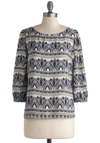 Ornate Architecture Top - Woven, Mid-length, Blue, Tan / Cream, Print, Work, Casual, Vintage Inspired, 20s, 3/4 Sleeve, Scoop, Blue, 3/4 Sleeve