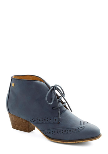 Kensington Markedness Bootie in Blue by Chelsea Crew - Low, Faux Leather, Blue, Solid, Menswear Inspired, Lace Up, Variation