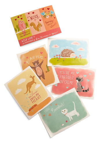 Wild for You Postcard Book by Chronicle Books - Multi, Valentine's, Critters, Good, Print with Animals