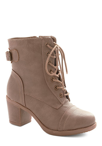 Where There's a Willamette Boot in Taupe - Mid, Faux Leather, Solid, Buckles, Military, Good, Lace Up, Chunky heel, Tan, Urban, Variation, Festival