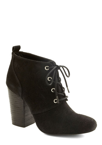 Boston by Night Bootie - Mid, Leather, Suede, Black, Solid, Lace Up, Chunky heel