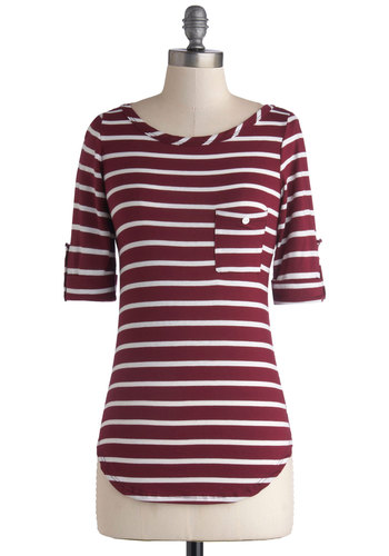 Apple Cranberry Crumble Top - Knit, Red, White, Stripes, Pockets, Casual, Nautical, Short Sleeves, Jersey, Mid-length, Red, Tab Sleeve
