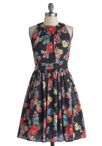Prized Perennials Dress in Black - Floral, Party, A-line, Sleeveless, Better, Exclusives, Chiffon, Woven, Pockets, Multi, Red, Yellow, Green, Blue, Black, Full-Size Run, Mid-length