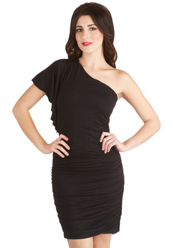 Tasting Room Dress in Noir - Knit, Mid-length, Black, Solid, Ruching, Girls Night Out, LBD, Bodycon / Bandage, One Shoulder, Variation, Good