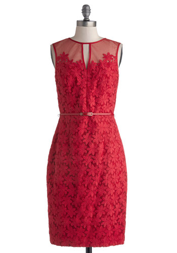 Poinsettia Party Dress - Red, Belted, Party, Sheath / Shift, Sleeveless, Better, Crew, Solid, Bridesmaid, Floral, Wedding, Cocktail, Valentine's, Long, Sheer, Woven