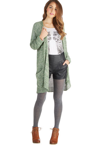 Nature Poet Cardigan - Knit, Green, Solid, Knitted, Pockets, Long Sleeve, Better, Green, Long Sleeve, Casual
