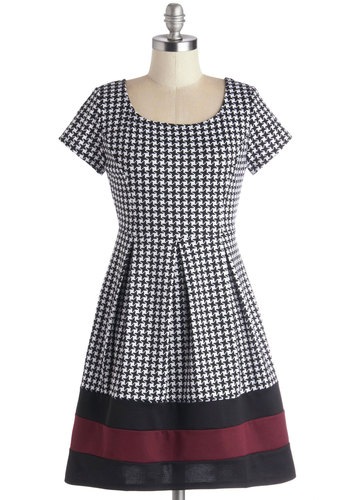 Undoubtedly Adorable Dress - Houndstooth, Pleats, Casual, A-line, Short Sleeves, Good, Scoop, Short, Knit, Multi, Red, Black, White