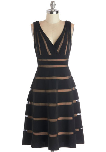 Correspondents' Dinner Date Dress - Black, Tan / Cream, Stripes, Cocktail, A-line, Sleeveless, Better, V Neck, Knit, Long