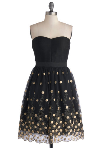 Haute on the Town Dress - Black, Gold, Embroidery, Party, Holiday Party, A-line, Strapless, Better, Sweetheart, Knit, Woven, Long