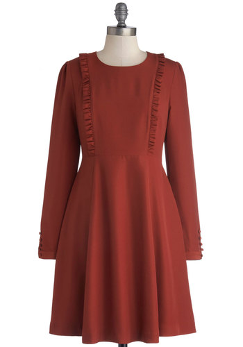 Greeting of the Minds Dress by Bea & Dot - Private Label, Woven, Mid-length, Red, Solid, Ruffles, Casual, A-line, Long Sleeve, Better, Crew, Pockets, Exclusives, Show On Featured Sale
