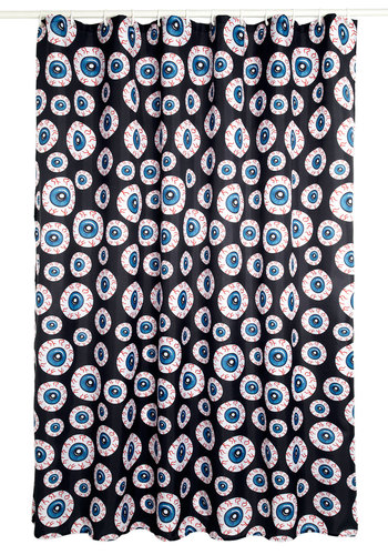Blink of an Eyeball Shower Curtain - Black, Red, Blue, White, Quirky, Woven, Good, Novelty Print, Guys