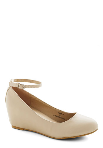 Take a Stride With Me Wedge in Cream - Mid, Faux Leather, Cream, Solid, Daytime Party, Minimal, Good, Wedge, Work, Variation, Basic