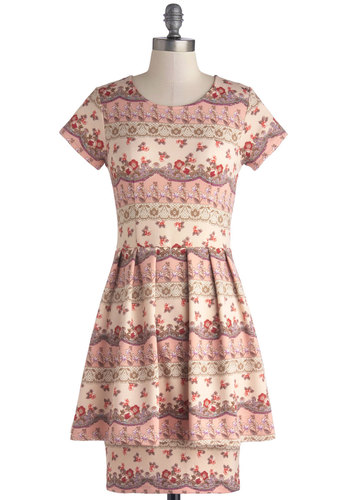 Rosy Rows Dress - Knit, Mid-length, Pink, Multi, Floral, Pleats, Short Sleeves, Better, Scoop, Daytime Party, Spring, Show On Featured Sale
