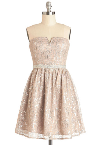 In Glint Condition Dress in Champagne - Knit, Woven, Short, Silver, Print, Sequins, A-line, Strapless, Better, Sweetheart, Party, Holiday Party, Pastel, Lace, Homecoming, Pink, Special Occasion, Prom, Wedding, Bride