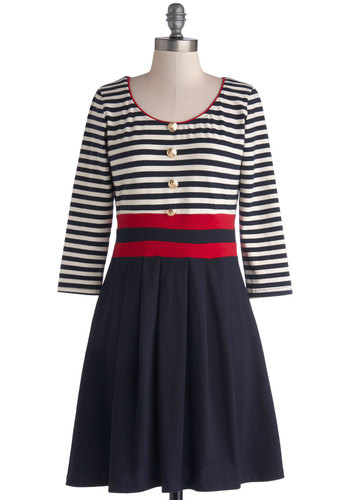 Literary Bruncheon Dress - Stripes, Buttons, Pleats, Casual, Nautical, A-line, 3/4 Sleeve, Good, Scoop, Mid-length, Knit, Cotton, Multi, Red, Blue, White, Show On Featured Sale