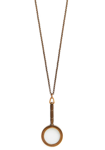 Magnifying Lass Necklace by Ornamental Things - Gold, Solid, Scholastic/Collegiate, Gold