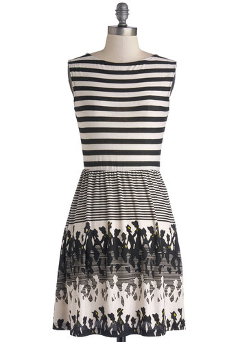 Stripes and Silhouettes Dress - Black, White, Novelty Print, Casual, A-line, Sleeveless, Scoop, Knit, Mid-length, Stripes