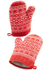 Homemade With Love Oven Mitts - Cotton, Woven, Red, Good, White, Novelty Print, Valentine's