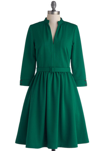 Talk Show Talent Dress by Myrtlewood - Knit, Long, Green, Solid, Belted, Casual, Vintage Inspired, A-line, Long Sleeve, Better, Pockets, 50s, Fit & Flare, Exclusives, Private Label