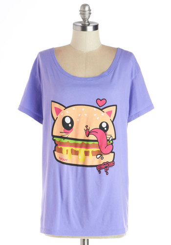 Cat-chup and Mustard Top - Jersey, Cotton, Knit, Mid-length, Purple, Multi, Print with Animals, Kawaii, Cats, Food, Short Sleeves, Better, Scoop, Purple, Short Sleeve, Casual, Quirky, Spring, Summer
