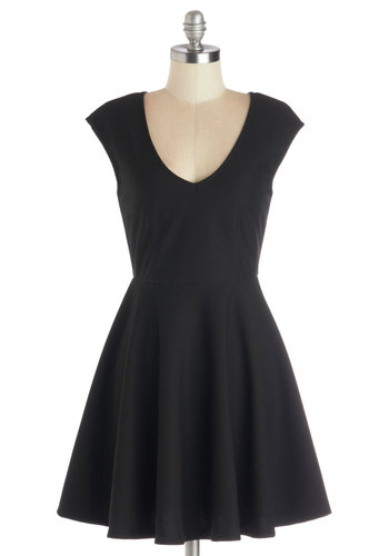 Your Very Best Dress - Black, Solid, Party, A-line, Good, V Neck, Cap Sleeves, Knit, Short