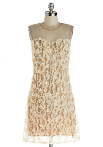 Grand Garlands Dress by Nick & Mo - Sheer, Knit, Woven, Mid-length, Cream, Tan / Cream, Flower, Daytime Party, Sheath / Shift, Sleeveless, Better, Crew, Ruffles, Wedding, Bridesmaid