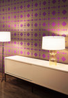 Wicker Park Temporary Wallpaper - Dorm Decor, Best, Purple, Gold, Print, Mid-Century, Variation