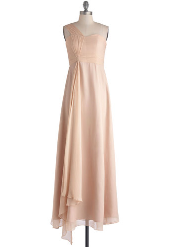 Enchantment in the Evening Dress - Woven, Long, Pink, Solid, Special Occasion, Bridesmaid, Maxi, One Shoulder, Best, Prom, Wedding, Homecoming