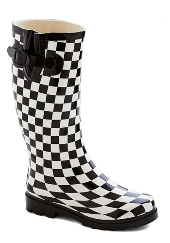 Chess for Success Rain Boot - Low, Checkered / Gingham, Good, Black, White, Spring, Statement