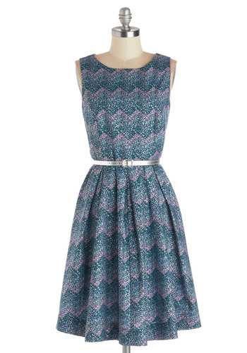 Festivity for Two Dress by Bea & Dot - Private Label, Cotton, Woven, Blue, Multi, Print, Belted, Party, A-line, Sleeveless, Good, Purple, Pleats, Pockets, Exclusives, Show On Featured Sale, Mid-length