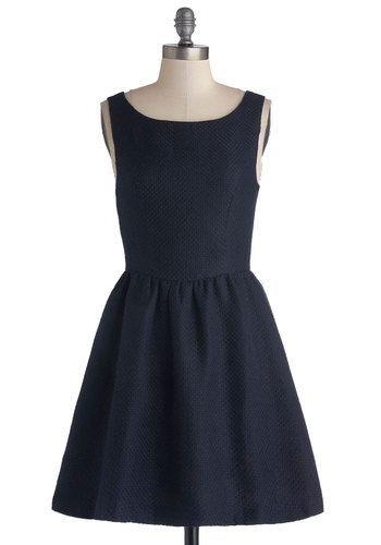 Set the Standard Dress - Blue, Solid, Party, Sleeveless, Good, Scoop, Woven, Short, Fit & Flare