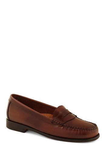 Loafer and Over Flat in Caramel by Bass - Low, Leather, Brown, Solid, Work, Menswear Inspired, Best, Scholastic/Collegiate, Variation