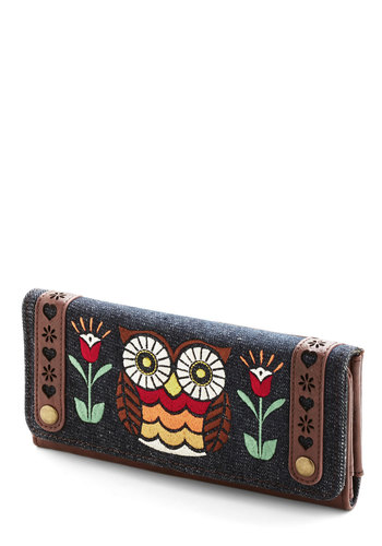 Owl About Town Wallet - Brown, Multi, Floral, Print with Animals, Embroidery, Folk Art, Faux Leather, Denim, Woven, Woodland Creature