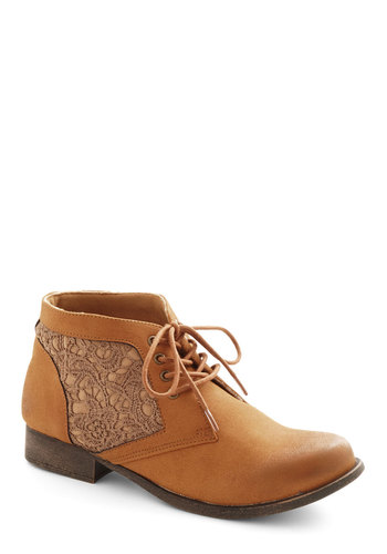 A Walk to the Wise Bootie - Tan, Boho, Low, Good, Lace Up, Crochet, Faux Leather, Solid
