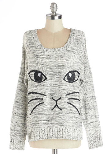 All Eyes on Mew Sweater - Cotton, Knit, Short, Grey, Print with Animals, Cats, Long Sleeve, Better, Grey, Long Sleeve, Casual, Scoop, Gals