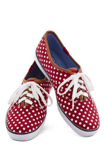 Night Classics Sneaker in Red by Keds - Flat, Woven, Red, White, Polka Dots, Casual, Good, Lace Up, Summer, Americana, 90s