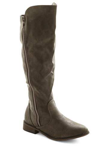 Concrete Idea Boot - Low, Faux Leather, Grey, Solid, Exposed zipper, Good, Casual