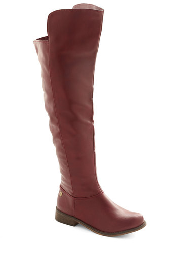 Seattle Scene Boot - Low, Faux Leather, Red, Solid, Good, Minimal, Over the Knee