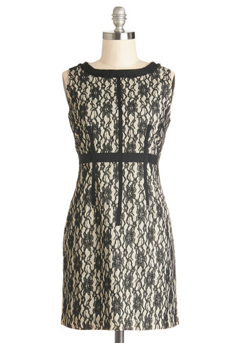 Prose and Conference Dress - Black, Lace, Trim, Party, Cocktail, Sheath / Shift, Sleeveless, Better, Scoop, Knit, Woven, Short, Tan / Cream, Exposed zipper, Holiday Party, Lace