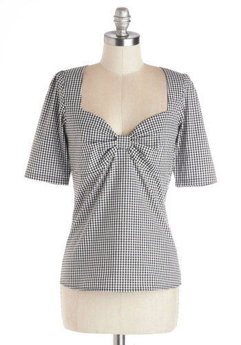 Mixology and Match Top - Cotton, Woven, Mid-length, Rockabilly, Pinup, Vintage Inspired, Short Sleeves, Short Sleeve, Checkered / Gingham, Cutout, Sweetheart, Black, Black