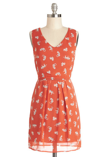 Claws and Effect Dress - Chiffon, Sheer, Woven, Short, Orange, White, Print with Animals, Casual, Quirky, Cats, A-line, Sleeveless, V Neck