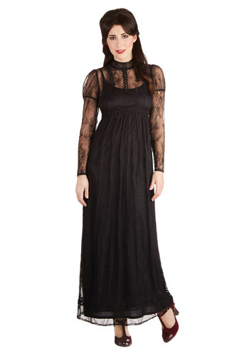 Born to Runway Dress - Long, Woven, Black, Solid, Lace, Formal, Maxi, Long Sleeve, Better, French / Victorian, Steampunk, Sheer, Exclusives, Halloween, Winter