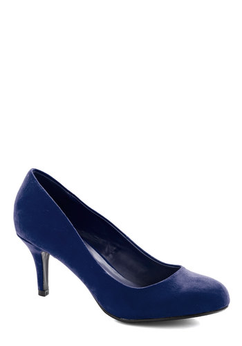 At a Moment's Notice Heel in Navy - Mid, Faux Leather, Blue, Solid, Work, Holiday Party, Minimal, Good, Party, Variation, Basic