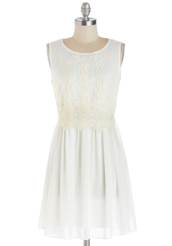Alabaster Darling Dress - White, Solid, Lace, Party, A-line, Sleeveless, Good, Scoop, Chiffon, Sheer, Woven, Mid-length, Knit, Wedding, Bride