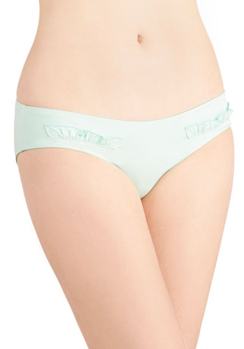 Mint for the Beach Swimsuit Bottom by Zinke - Mint, Solid, Beach/Resort, Pastel, Summer, Best, Knit, Ruffles