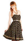 Well Fancy That Dress - Short, Chiffon, Woven, Black, Gold, Polka Dots, Belted, Cocktail, A-line, Strapless, Better, Sweetheart, Party, Vintage Inspired, 50s, 60s, Exclusives, Holiday Party