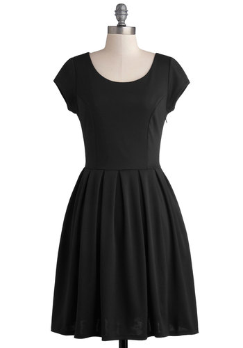 Be a Good Port Dress in Noir - Knit, Mid-length, Black, Solid, Bows, Cutout, Pockets, Casual, LBD, A-line, Cap Sleeves, Better, Scoop, Variation