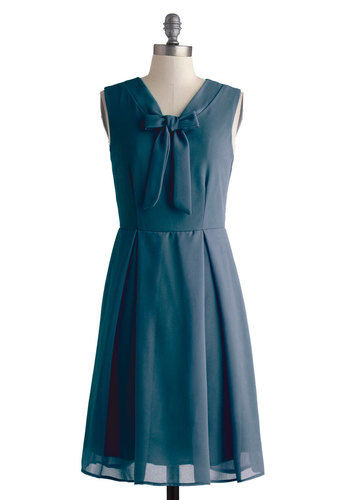 Pondside Processional Dress in Lagoon - Chiffon, Woven, Mid-length, Blue, Solid, Tie Neck, Bridesmaid, A-line, Sleeveless, Better, Variation, Wedding, Work