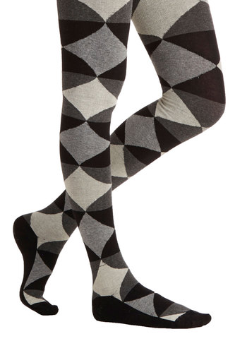 Now or Layer Tights - Argyle, Fall, Winter, Better, Knit, Black, Grey