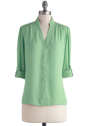 The Grand Tour Guide Top in Mint by Myrtlewood - Mid-length, Chiffon, Woven, Solid, Buttons, Work, Long Sleeve, Green, 3/4 Sleeve, Variation, Mint, Exclusives, Private Label, Spring, Green, Pastel